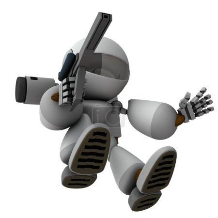 Photo pour N intelligence artificielle robot soldat qui plonge et envahit. rendu 3D. Fond blanc. - image libre de droit