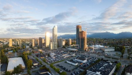 Aerial panoramic view of Residential Buildings and Construction Sites around Brentwood Mall. Taken in Burnaby, Greater Vancouver, BC, Canada.