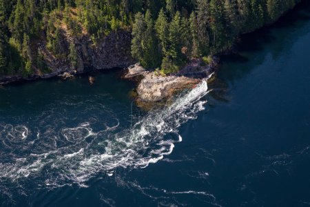 Aerial view of Skookumchuck Narrows  during a vibrant sunny summer day. Located in Sunshine Coast, BC, Canada.