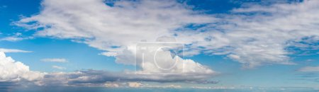 Photo for Panoramic View of Puffy White Clouds with Blue Sky during a beautiful Sunny Day. Taken over Vancouver, British Columbia, Canada. - Royalty Free Image
