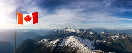 Photo for Canadian National Flag Overlay. Aerial Panoramic View of Beautiful Canadian Mountain Landscape during a sunny and cloudy day. Taken near Squamish and Vancouver, British Columbia, Canada. - Royalty Free Image