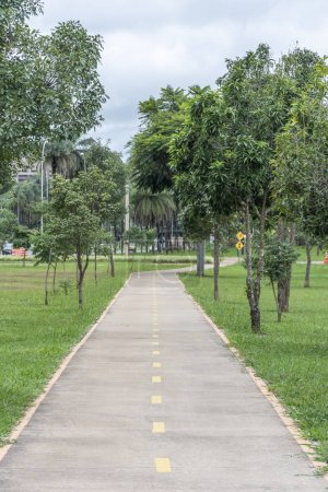 Cycling lanes in central Brasilia, Federal District, capital city of Brazil