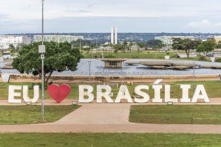 'I Love Brasilia' on giant letters in Burle Marx Gardens, central Brasilia, Federal District, capital city of Brazil