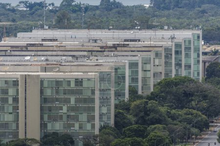 Esplanada dos Ministerios (Ministries Esplanade) with public office Ministry buildings in central Brasilia, Federal District, capital city of Brazil