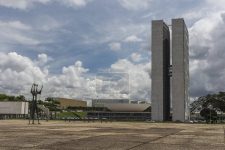 Nationales Kongressgebäude mit zwei Türmen im Zentrum Brasiliens, Bundesbezirk, Hauptstadt Brasiliens