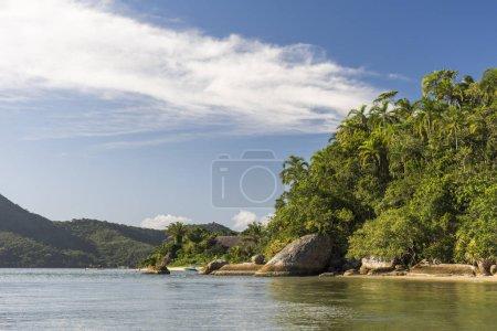Beautiful deserted tropical beach landscape in Saco do Mamangua, Paraty, Costa Verde region in south Rio de Janeiro, Brazil