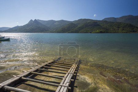 Beautiful tropical landscape with green rainforest and the ocean in Saco do Mamangua, Paraty, Costa Verde region in south Rio de Janeiro, Brazil