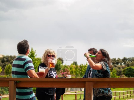Photo for A group of friends having fun and toasting and drinking beer in a park on a holiday - Royalty Free Image