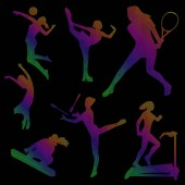 Silhouette of sports girls sport icons colored silhouette of a girl on a black background linear art vector illustration eps 10