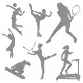 Silhouette of sports girls sport icons silhouette of a girl linear art vector illustration eps 10