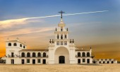 El Rocio hermitage at sunrise in small village with the same name in Almonte, Huelva, Andalusia, Spain