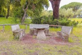 Stone bench in Donana Natural Park and nature reserve. Palace of Acebron in Huelva, Andalusia Spain