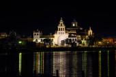 Night view of El Rocio hermitage, small village in Almonte, Huelva, Andalusia, Spain