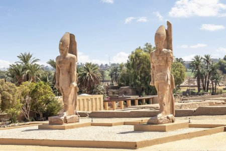 The recently raised quartzite Colossi of Amenhotep...