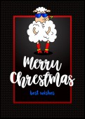 glamorous sheep in fashionable glasses and a flower in the mouth Beautiful greeting card Merry Christmas on black background Vector illustration