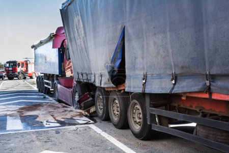 The collision of two trucks