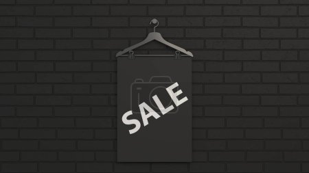 Photo for Black Sale poster on hanger with binder clips. Picture or photo mockup in the interior. 3D render illustration - Royalty Free Image