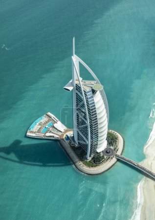 Dubai, United Arab Emirates, 18th May, 2018: aerial view of world most highly rated hotel Burj Al Arb