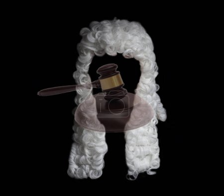 judge wig end judge gavel on black background