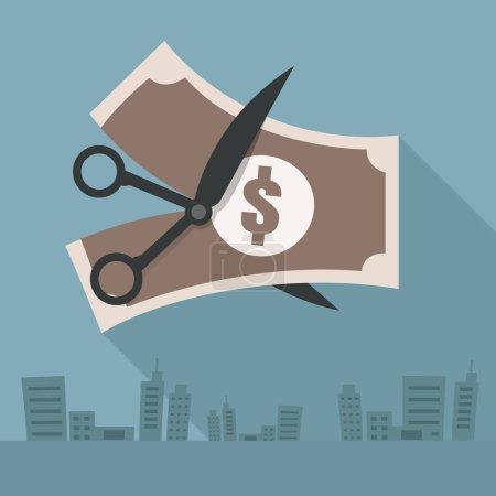 Illustration pour Homme d'affaires. Les ciseaux coupent l'argent. Échec. Illustration vectorielle. sur fond gris - image libre de droit