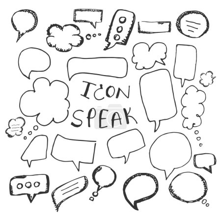 Illustration for Vector Hand Drawn Speech Bubbles Set. on white background. icon. symbol - Royalty Free Image