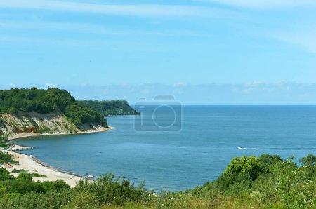 sea surface, meandering sea shore, sea backwater, headland on the seashore