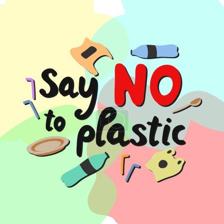 Illustration pour Ne dites pas de lettrage moderne en plastique sur fond de couleur avec des ordures. Concept de pollution environnementale. Vecteur - image libre de droit