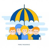 Color line family insurance concept illustration Flat vector