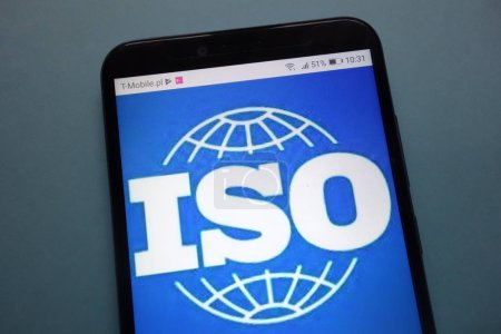 KONSKIE, POLAND - November 03, 2018: International Organization for Standardization (ISO) logo on smartphone