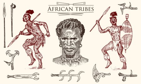 African tribes portraits of Aborigines