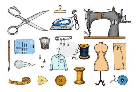 Illustration pour Ensemble d'outils à coudre et de matériaux ou éléments pour la couture à l'aiguille. Matériel fait main. Magasin sur mesure pour étiquettes, badge. fil et aiguille, mannequin. gravé à la main dessiné réaliste dans un vieux croquis vintage - image libre de droit