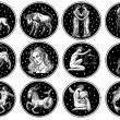 Zodiac icons. Astrology horoscope with signs. Cale...
