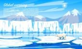 Global warming Environmental problem Climate Change Ecological catastrophe Air pollution Polar bear on a floating ice floe in the north Arctic Ocean