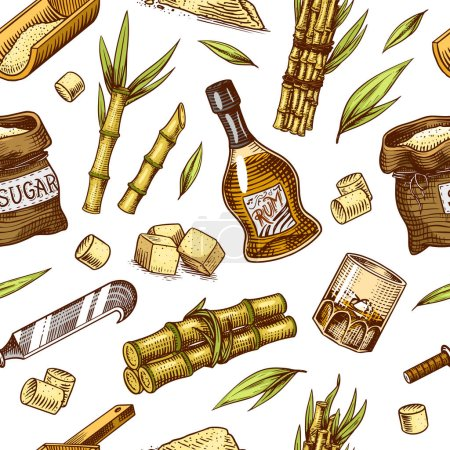 Photo for Cane sugar Seamless pattern. Sugarcane plants. Stalks and bottle of rum, Wooden plate spoon, Cubes and juice, Bamboo, signboard inscription. Engraving Hand drawn food and natural ingredients - Royalty Free Image