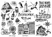 Symbols of Denmark in vintage style Retro sketch with traditional signs Scandinavian culture national entertainment in European country Homes drinks mermaid and ship animals and sea creatures