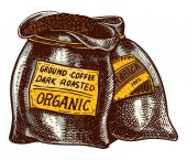Bag of coffee beans in vintage style Hand drawn engraved retro sketch Organic natural plant template for a label or menu