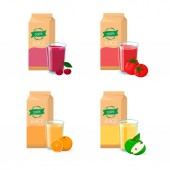 Vector set of juice Box package glass and fruit Orange cherry tomato apple