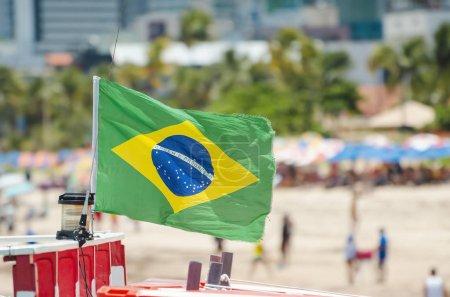 Brazilian flag on a touristic beach