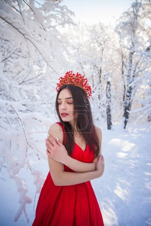 Photo for Queen in a red crown among the winter forest. Lovely girl in a red long dress. Attractive brunette - Royalty Free Image