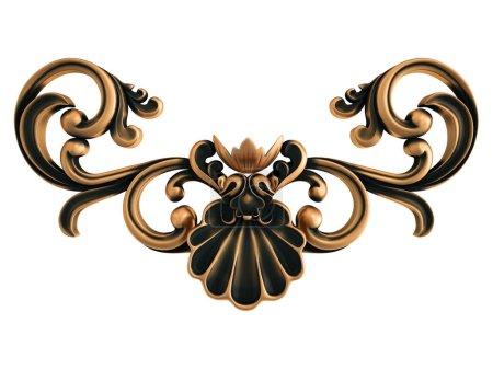 Photo pour Ornement en bronze sur fond blanc. Isolé. Illustration 3D - image libre de droit