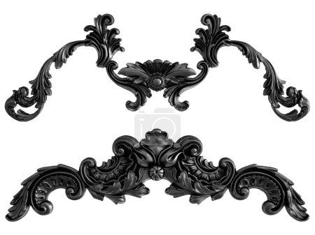 Photo pour Ornement noir sur fond blanc. Isolé. Illustration 3D - image libre de droit