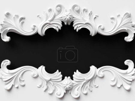 Vintage weiße Karte mit Ornamentdekoration. 3D-Illustration