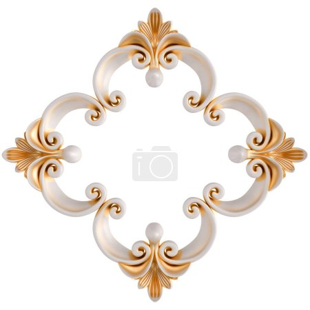 White ornament with gold patina on a white background. Isolated