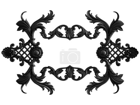 Photo for Collection black ornament on a white background. Isolated. 3D illustration - Royalty Free Image