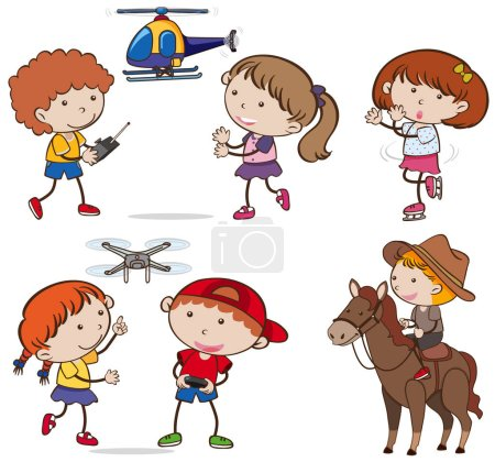A Set of Kids doing Activities illustration