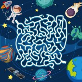 A space maze puzzle game illustration