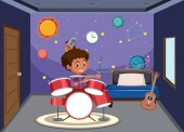 Boy playing drum in bedroom illustration