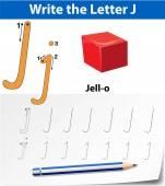 Letter J tracing alphabet worksheets illustration