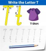 Letter T tracing alphabet worksheets illustration