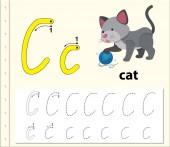 Letter C tracing alphabet worksheets illustration